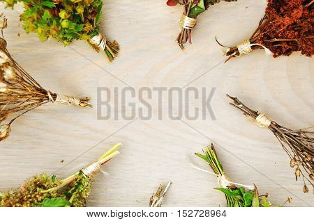 Light wood background with bunches of dried herbs. Top view.