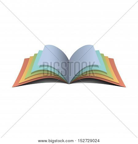 Vector abstract sign colorful book, isolated illustration