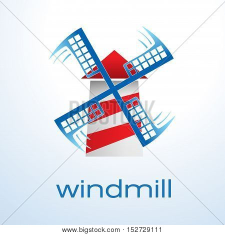 Vector sign windmill wind energy, isolated illustration