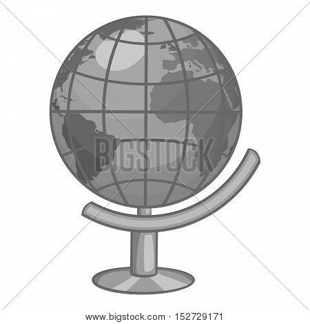 Globe icon. Gray monochrome illustration of globe vector icon for web