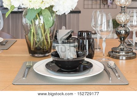 Table Set On Wooden Dinning Table