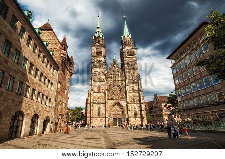 Gothic Cathedral In The Old Town Of Nuremberg, Germany
