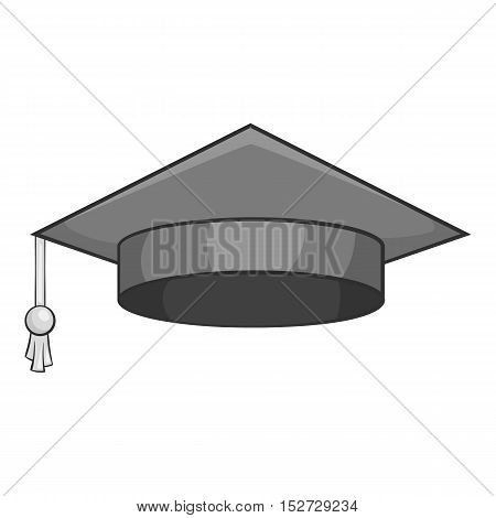 Hat student icon. Gray monochrome illustration of hat student vector icon for web