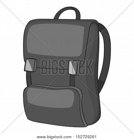 School backpack icon. Gray monochrome illustration of school backpack vector icon for web
