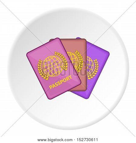 Three passports icon. Cartoon illustration of three passports vector icon for web