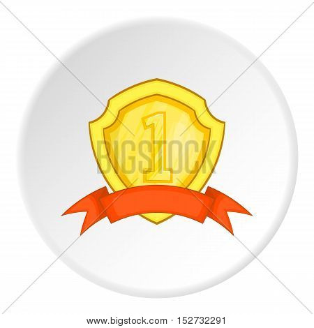 Golden shield for first place icon. Cartoon illustration of golden shield for first place vector icon for web