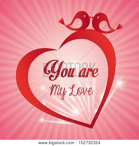 valentines day card you are my love heart bird light background vector illustration eps 10