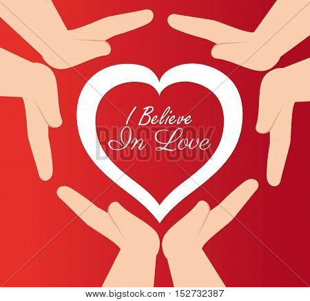 hands protected heart i believe in love vector illustration eps 10