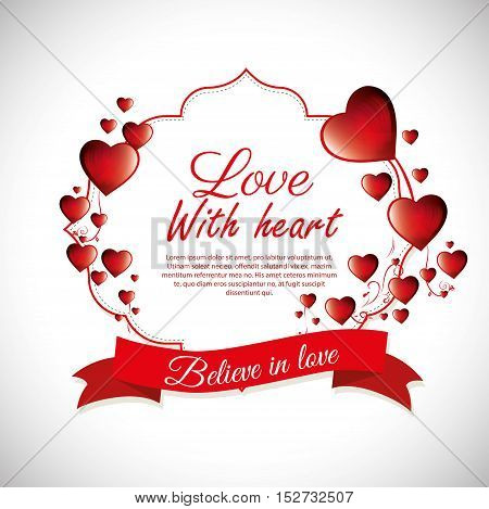 love with heart believe in love label design vector illustration eps 10