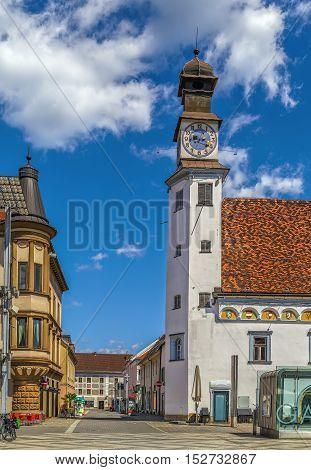 Tower of old City Hal in Leoben Austria