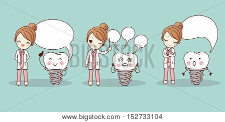 cute cartoon tooth and dentist with speech bubble