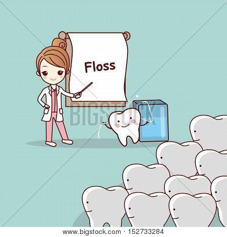 cartoon doctor or dentist teach teeth to use floss great for dental care concept