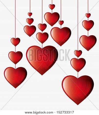 hearts hanging white background vector illustration eps 10
