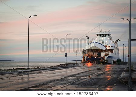Arrival Of The Ferry on blue sky background