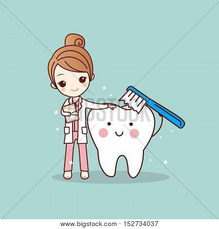 cartoon woman dentist brush clean teeth great for dental care concept