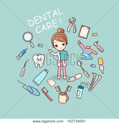 cute cartoon dentist doctor with dentist tools great for health dental care concept