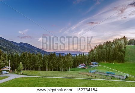 Landscape in Alps mountains in sunset time Austria
