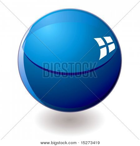 Single blue marble with a drop shadow and reflections