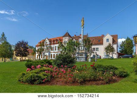 Plague column in garden in front of Seckau abbey Austria