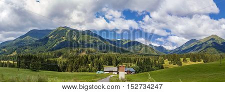 Panoramic landscape of Alps mountains in Styria Austria