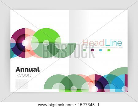 Circle annual report templates, business flyers. Vector abstract backgrounds