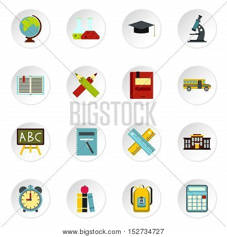 School icons set. Flat illustration of 16 school vector icons for web