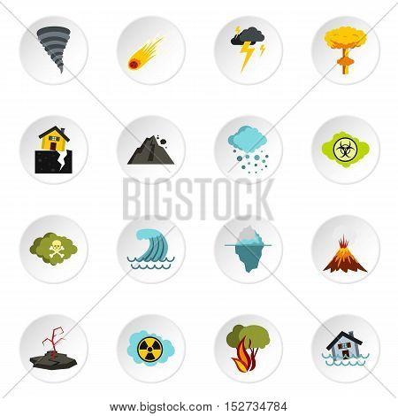 Natural disaster icons set. Flat illustration of 16 natural disaster vector icons for web