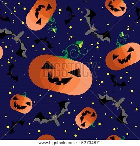 Vector pattern Jack pumpkin head and bat