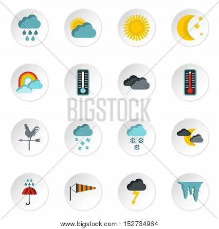 Weather icons set. Flat illustration of 16 weather vector icons for web