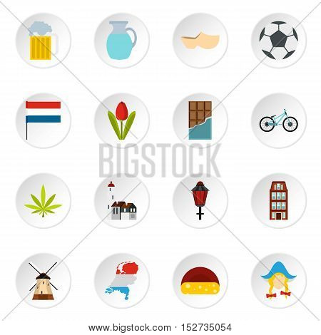 Netherlands icons set. Flat illustration of 16 Netherlands vector icons for web