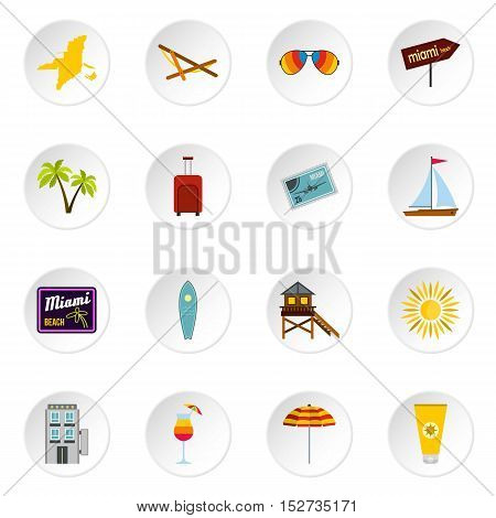 Miami icons set. Flat illustration of 16 Miami vector icons for web