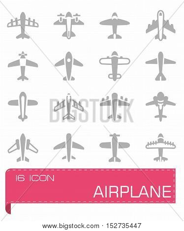 Vector Airplane icon set on grey background
