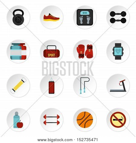 Fitness icons set. Flat illustration of 16 fitness vector icons for web