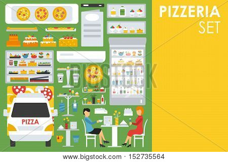 Big detailed Pizzeria Interior flat icons set. Minibar, Refrigerator, Waiter, Chairs, Tables. Pizza conceptual web vector illustration.