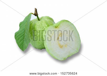 Fresh guava with leaf isolated on white background