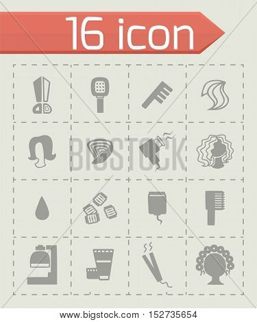 Vector Barber icon set on grey background