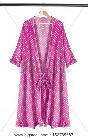 Pink dressing gown on wooden clothes rack isolated over white