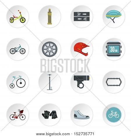Bicycling icons set. Flat illustration of 16 bicycling vector icons for web
