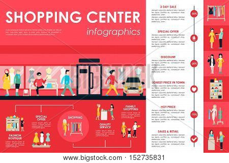 Shopping Center concept Retail infographic flat web vector illustration. Info, Graphic, People, Room, Shop, Discount, Boutique. Presentation timeline