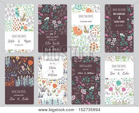 Vector Set of card templates. Perfect for Save The Date baby shower mothers day valentines day birthday cards invitations.