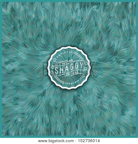 Abstract background design. Vector Illustration. Shaggy turquoise fur texture