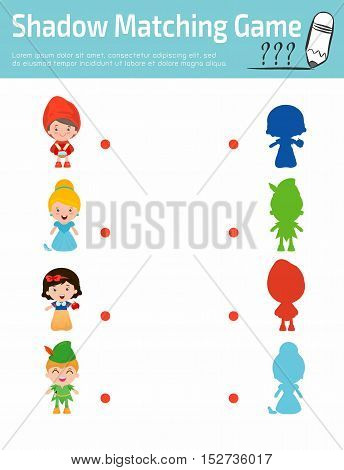 Shadow Matching Game for kids, Visual game for child . Connect the dots picture,Education Vector Illustration. kids wearing story costumes