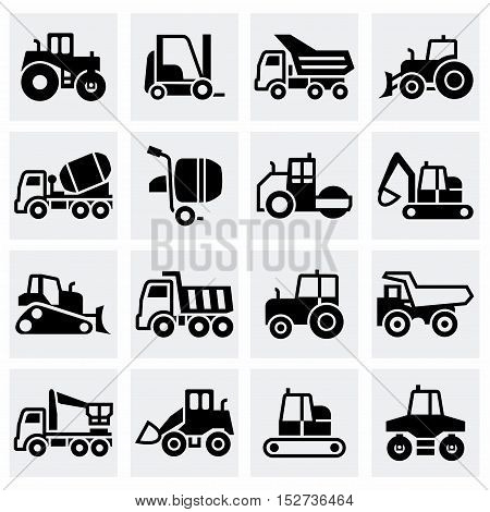 Vector Construction transport icon set on grey background