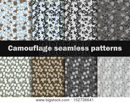 Camouflage Seamless Patterns. Urban Pattern Camouflage. Masking, Vector Illustration.