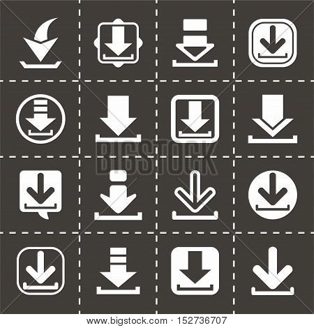 Vector Download icon set on black background