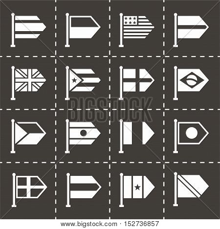 Vector Flags icon set on black background