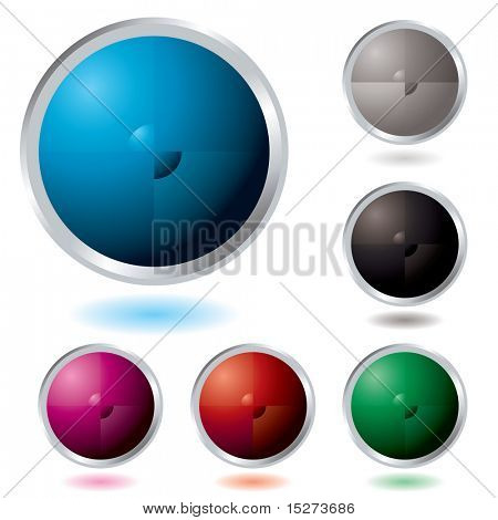 Six Illustrated colourful buttons with a drop shadow