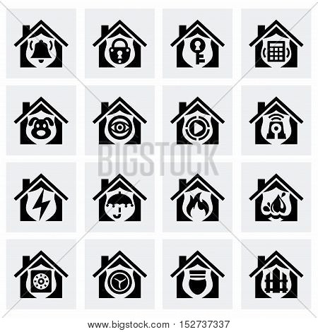 Vector Home security icon set on grey background