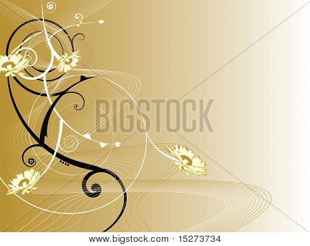 An abstract floral background with swirls and a golden influence