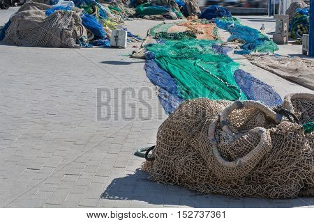 Colorful different fishing nets in the harbor of Port Andratx.
